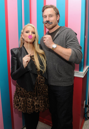 Eric Johnson accompanied Jessica Simpson to an event celebrating her girls' clothing collection at Dylan's Candy Bar in NYC in November 2011.