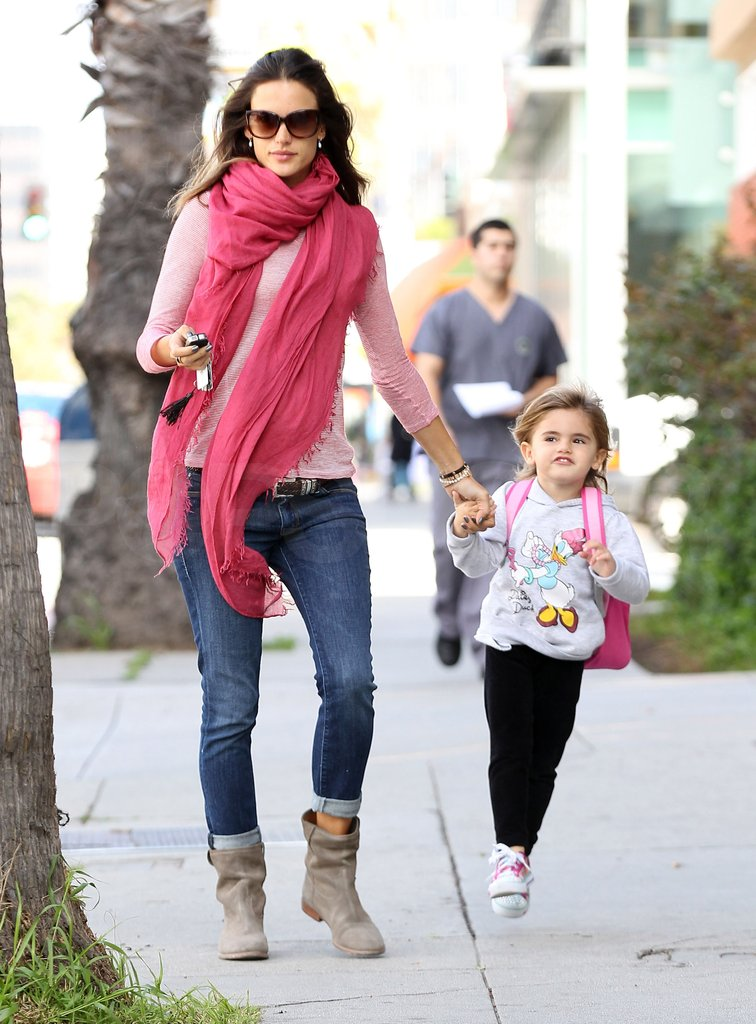 Alessandra Ambrosio wore pink to spend an LA afternoon with daughter Anja.