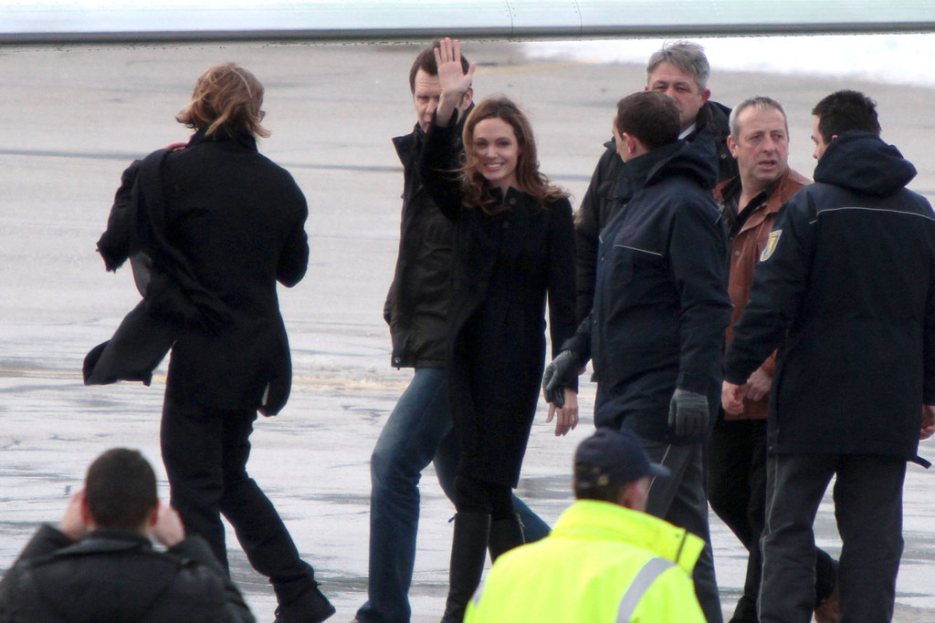 Angelina Jolie and Brad Pitt waved goodbye.