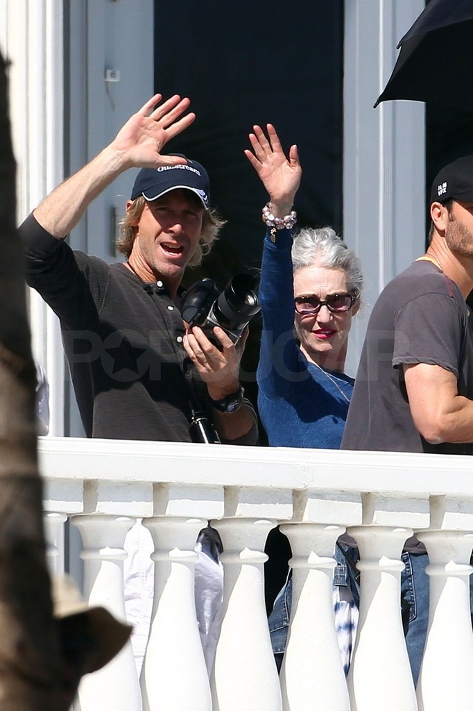 Michael Bay waved to fans.