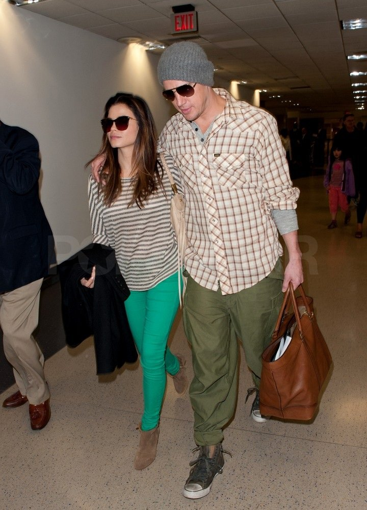 Channing and Jenna made their way through an LAX terminal.