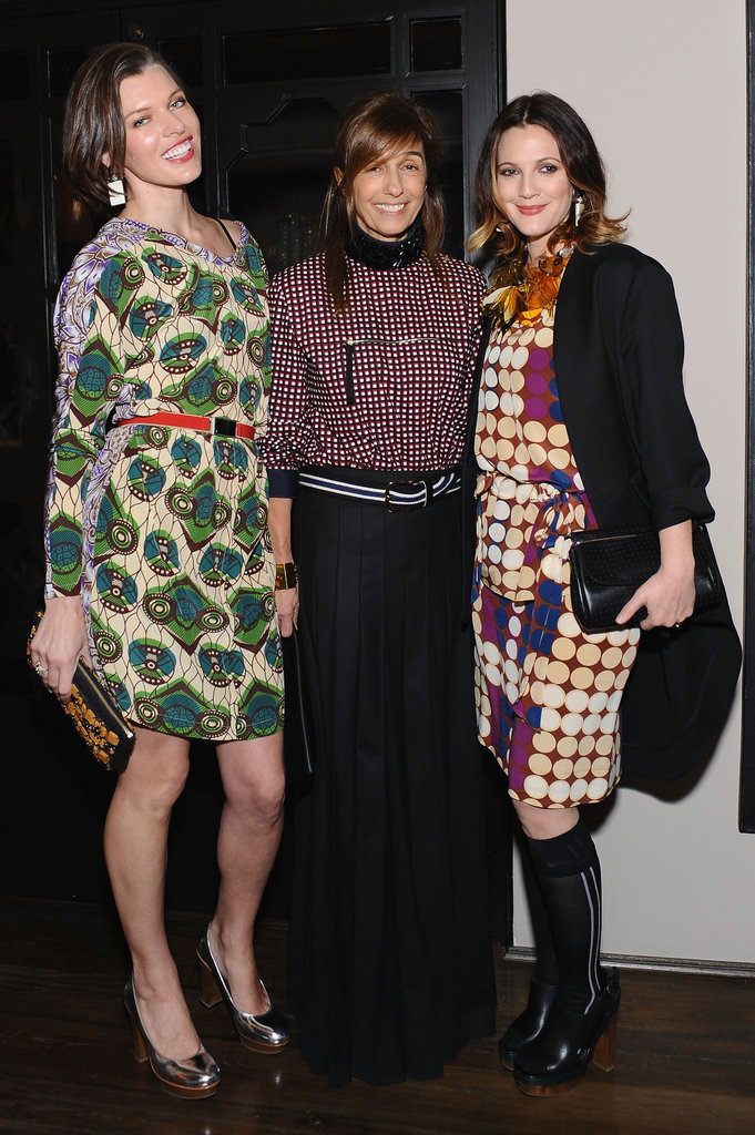 Milla Jovovich, Consuelo Castiglioni, and Drew Barrymore attended the Marni at H&M Collection Launch at Lloyd Wright's Sowden House in LA.