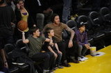 David Beckham, Cruz Beckham, Romeo Beckham, and Brooklyn Beckham were front row.