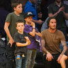 David Beckham Pictures at Lakers Game With Sons