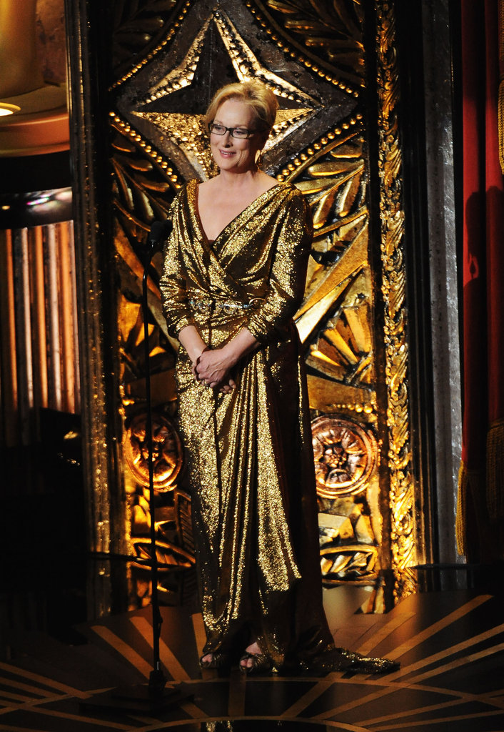 Meryl Streep wore a gold Lanvin dress onstage at the 2012 Oscars.