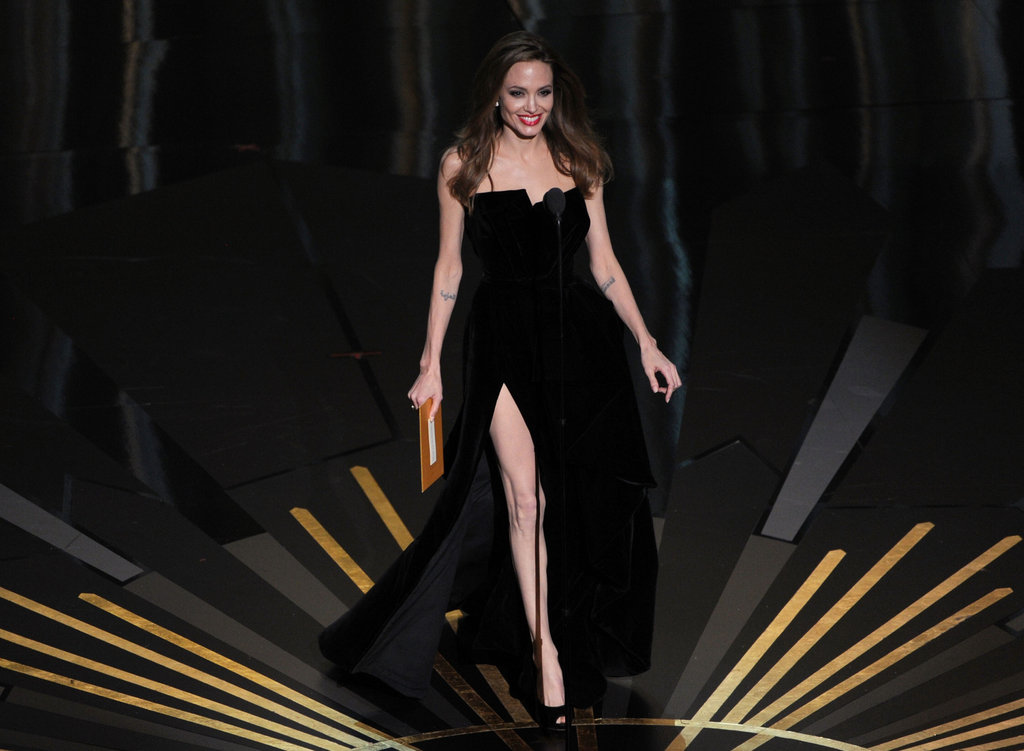 Angelina Jolie presenting at the Oscars.