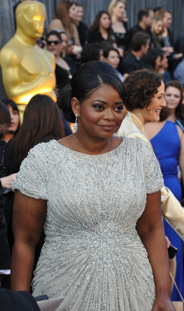 Octavia Spencer in white on the Oscars Red Carpet