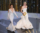 Jennifer Lopez and Cameron Diaz walked onstage together in nude-colored gowns.