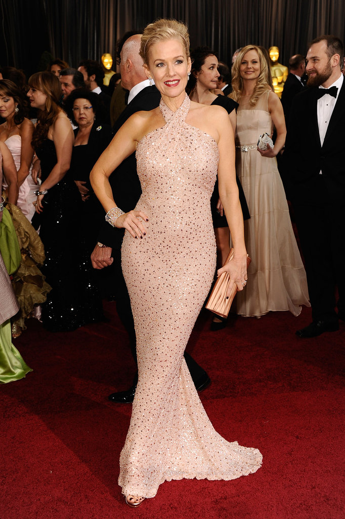 Penelope Ann Miller wore a sequined halter gown on the red carpet.
