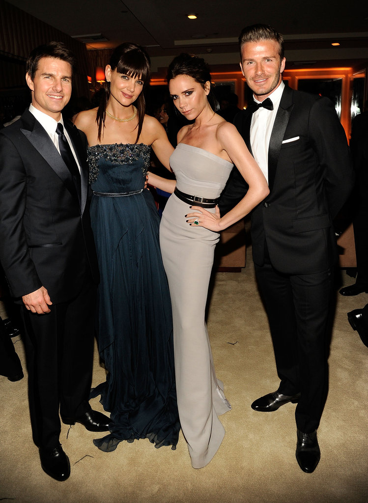 The Beckhams hung out with Tom Cruise and Katie Holmes at Vanity Fair's Oscar bash in February.
