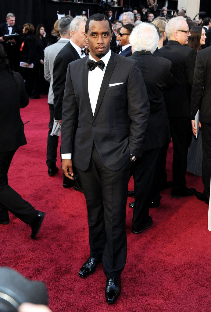 Sean Combs suited up in a black tux at the 2012 Oscars.