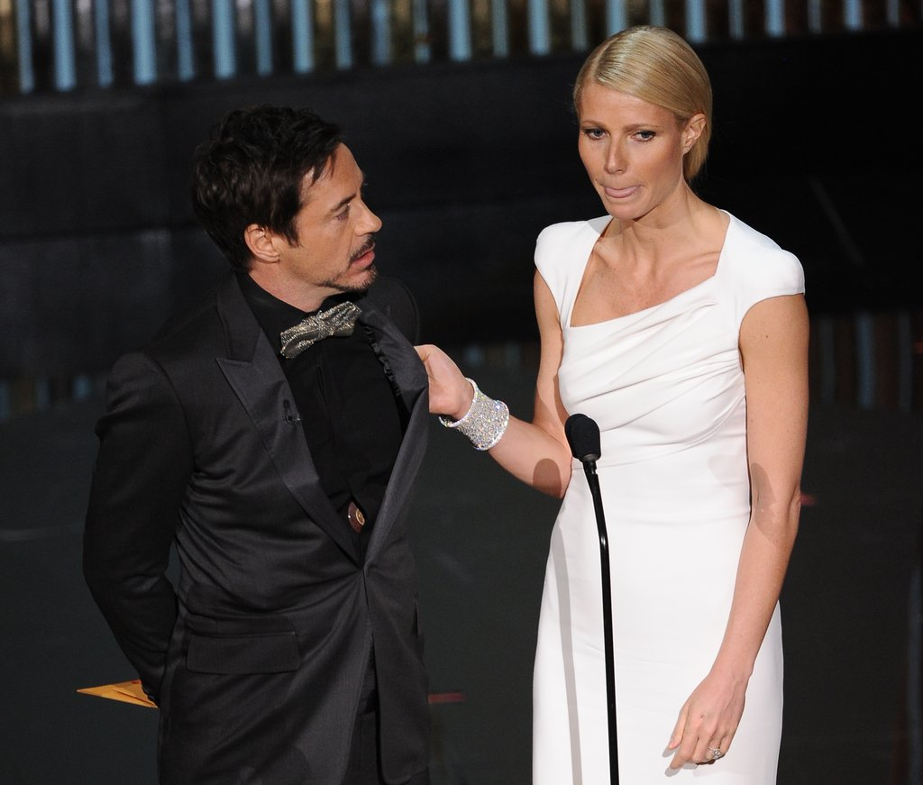 Gwyneth Paltrow Corrals Robert Downey Jr. on Stage at the Oscars