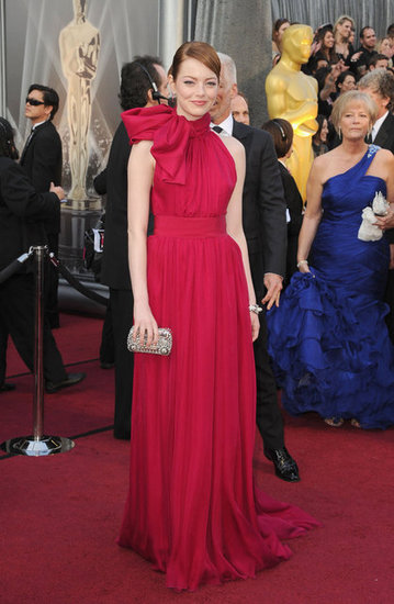 Emma Stone in Red on the Oscars Red Carpet