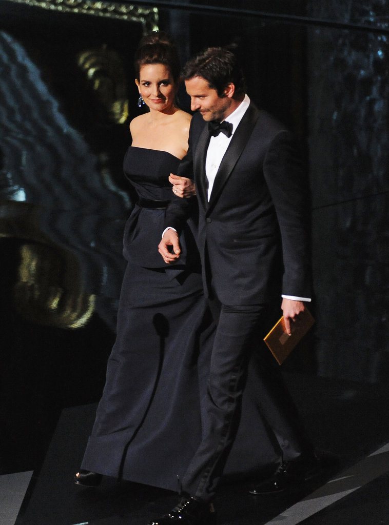 Tina Fey and Bradley Cooper walked onstage together.