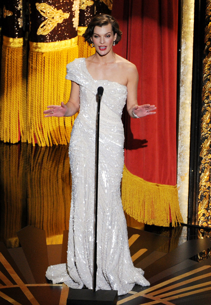 Milla Jovovich presented an award at the 2012 Oscars.