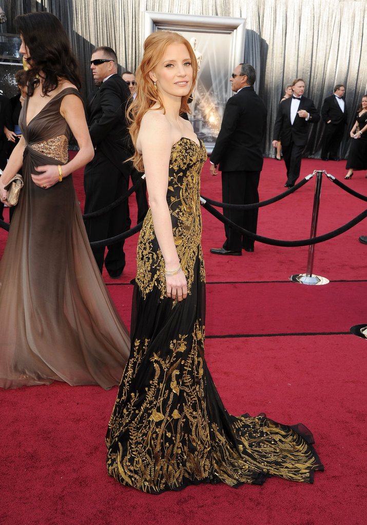 Jessica Chastain posed at the Oscars.