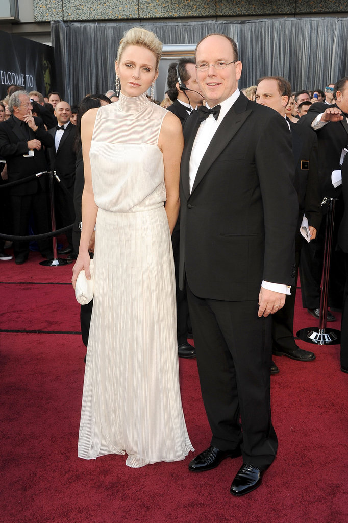 Princess Charlene attended the Oscars in a white gown with sheer detailing; do you like her simple, yet elegant look?