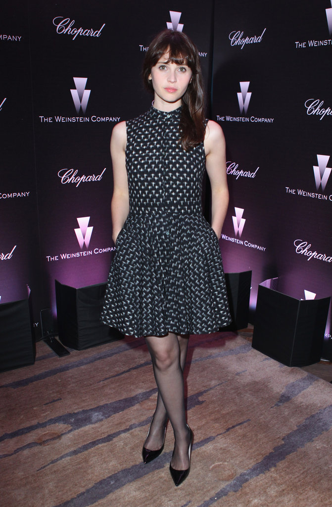 Felicity Jones keeps the full-skirted dress trend alive with her crisp printed dress.