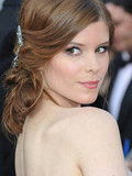 Kate Mara's pretty hair pin furthered the romantic feel of her look.
