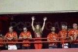 Jennifer Lopez threw her hands up in the air.