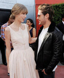 Zac Efron and Taylor Swift hung out on the orange carpet before the screening began.