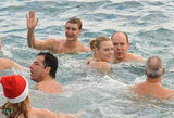 Pierre swims with his Prince Albert and Charlene Wittstock.