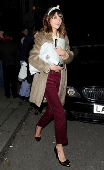 Then at night, after Mulberry's afterparty, Alexa wore the same coat with bordeaux ankle cords, a cream silk shirt, Mulberry bow pumps, and a knotted headband.  Longsleeve Tops by AsosPumps by Mulberry