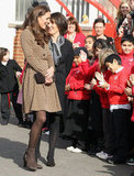 Kate Middleton said hello to school children.