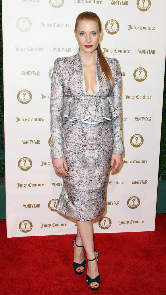 Jessica Chastain attended a Vanity Fair and Juicy Couture bash in LA.