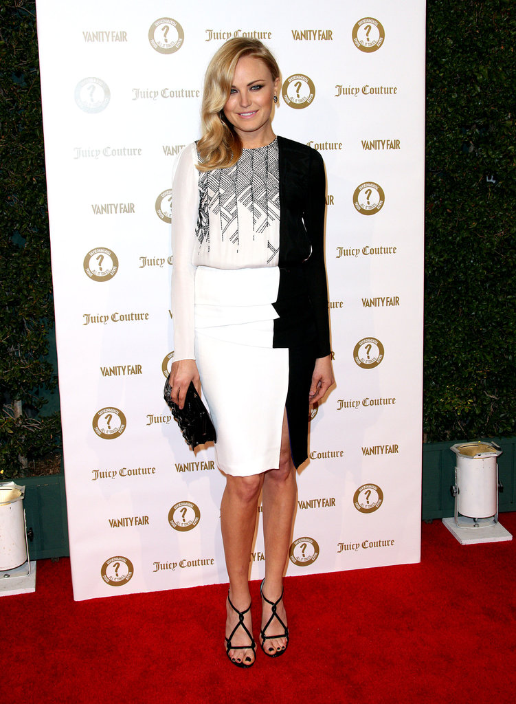 Malin Akerman wore a black and white J. Mendel gown with a Nancy Gonzalez clutch.