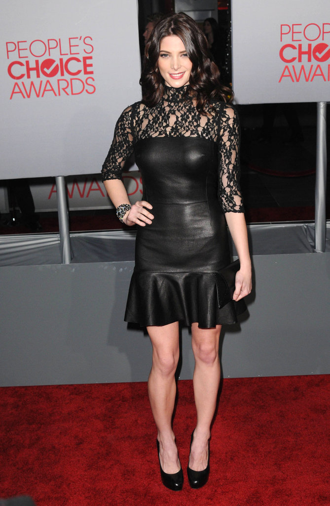 A hot leather-and-lace DKNY dress for the People's Choice Awards in 2012.