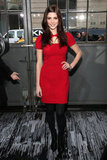 Hot red and a cutout neckline on a little frock at DKNY's Fall show in 2012.