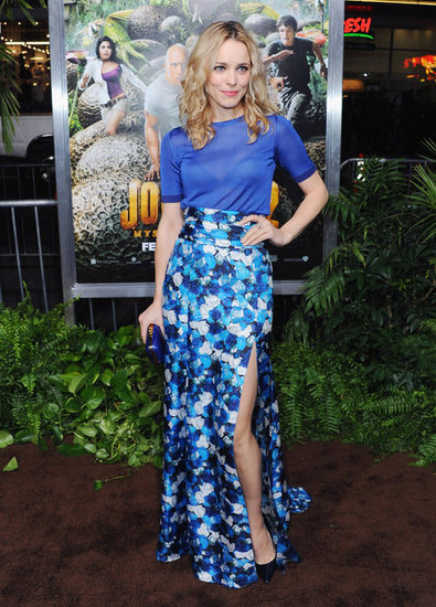 Rachel McAdams looked gorgeous in a Peter Som ensemble comprised of a floral slitted maxi skirt and bright cobalt tee at the Journey 2: The Mysterious Island LA premiere.    More Judith Leiber...
