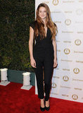 Shailene Woodley wore a black Bird by Juicy Couture jumpsuit.