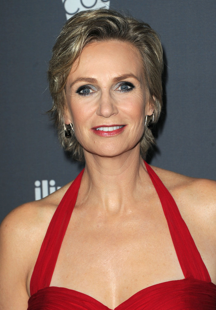 Jane Lynch wore a long red gown.