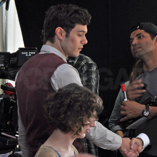 Adam Brody wore a sweater vest on the set of Welcome to the Jungle.