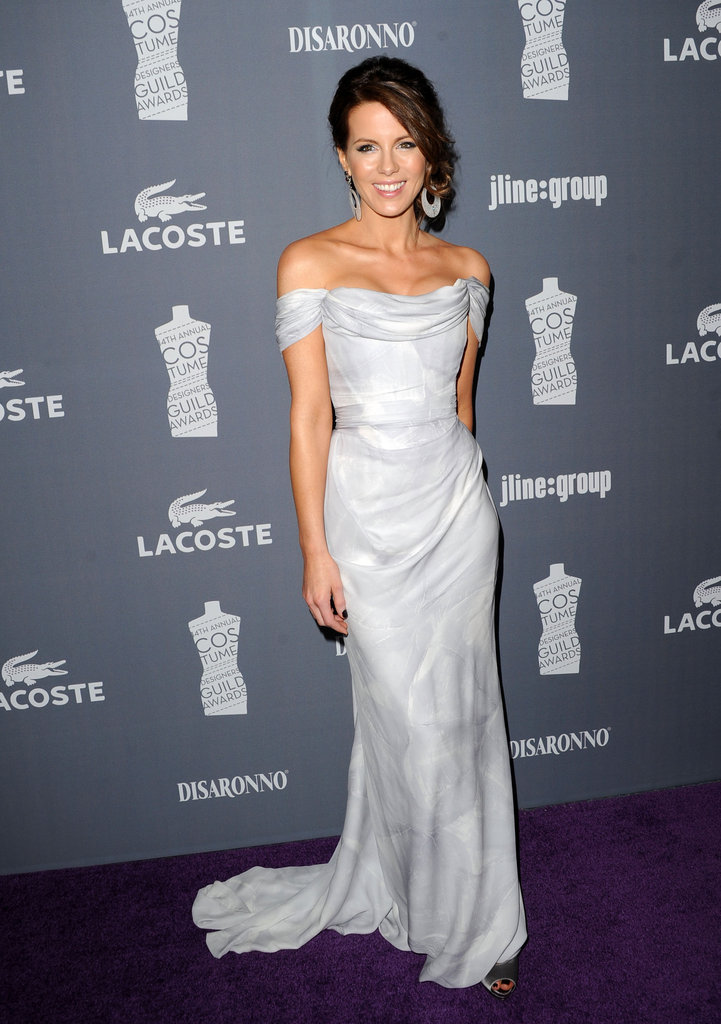 Kate Beckinsale opted for more glamour in a romantic silvery-toned off-the-shoulder gown.