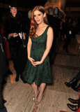 Kate Mara embraced the silhouette on a deep emerald-green cocktail frock.