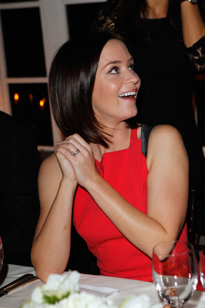 Emily Blunt wore a bright red dress.