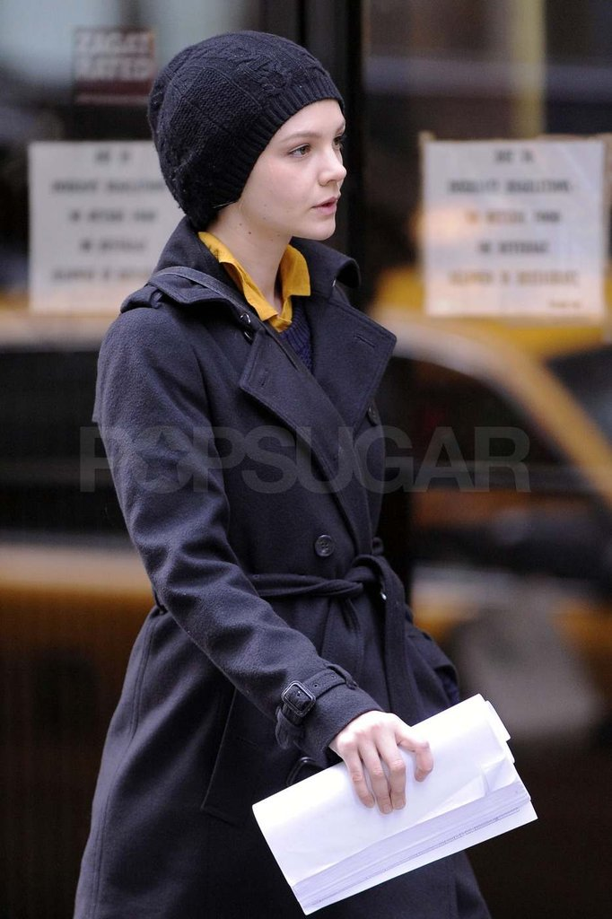 Carey Mulligan with a hat on.