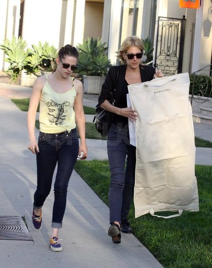 Kristen Stewart with her stylist in LA.