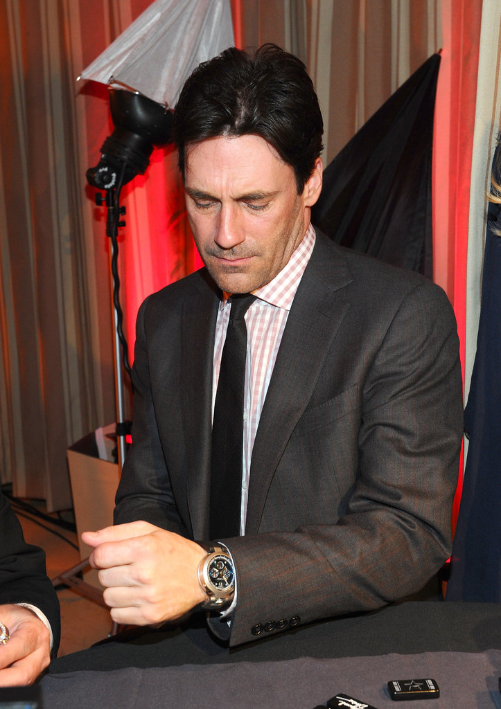 Jon Hamm tried his luck at a games table.