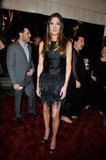 Jennifer Carpenter wearing a feathered dress.