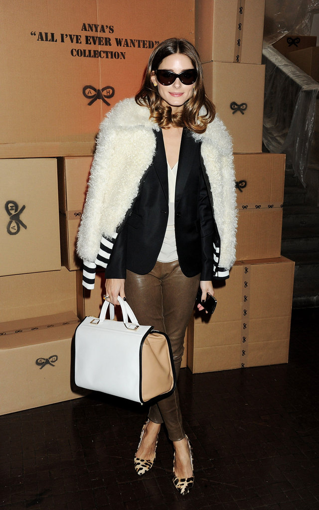We took notice of Olivia Palermo's slick front-row attire at London Fashion Week.