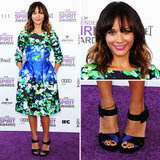 Rashida Jones got in on the dress silhouette of the season — the full skirt. She also honed in on the huge print trend, all with this sweet Oscar de la Renta frock. We love the sophisticated style on her, and we're a little obsessed with the navy platform sandals. Rashida kept her hair tousled for a look that's casually ladylike.