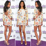 Zoe Saldana stepped out in a floral Balmain mini, complete with sexy back cutout. To polish off this skin-baring number, she wore nude Brian Atwood ankle-strap pumps.