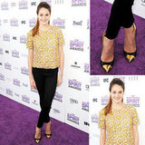 Channeling her signature brand of casual cool on the purple carpet, Shailene Woodley rocked a sunny embellished floral top, skinny black pants, and gold-capped pumps.