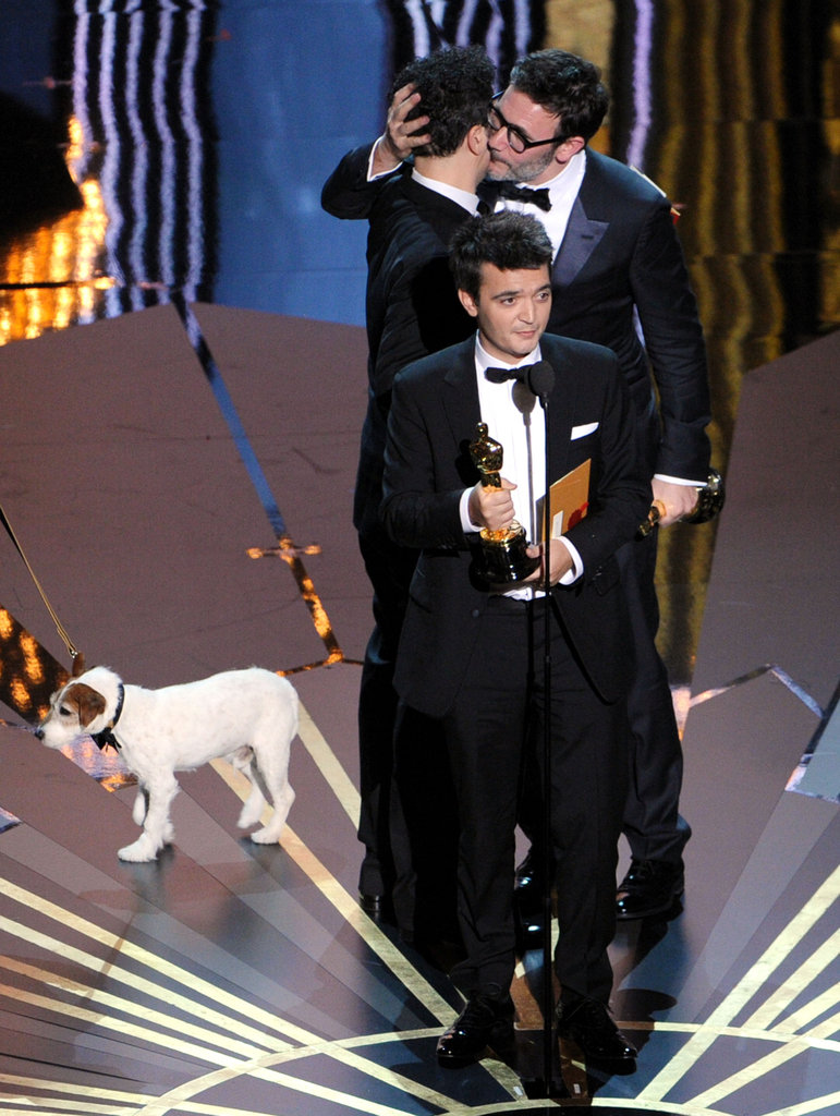 On stage with his The Artist team to accept the best picture award. Source: Getty