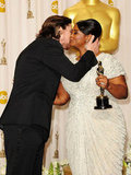 Christian Bale planted a congratulatory kiss on Octavia Spencer's cheek after presenting her with the best supporting actress award in 2012.