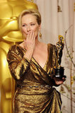 Meryl Streep blew a kiss in the press room in 2012.